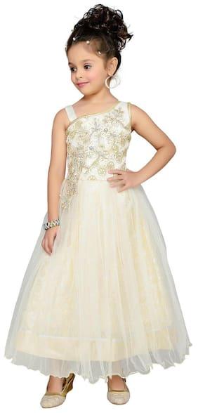Aarika Girl Net Self Design Gown - Cream