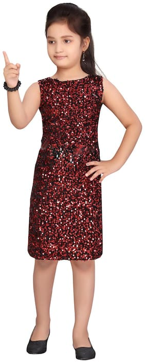 Black;Red A-Line Dress