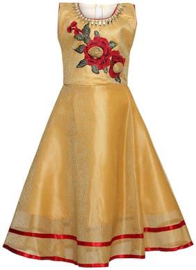 Aarika Girl's Nylon Self design Sleeveless Gown - Yellow