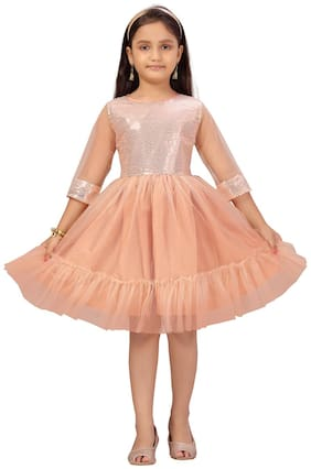 Peach Fit And Flare Dress