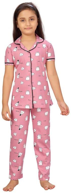 Aarika Girls Pink Color Cotton Night Suit Pack of 1 (Set of 2)
