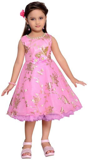 Aarika Pink Cotton Blend Sleeveless Knee Length Princess Frock ( Pack of 1 )