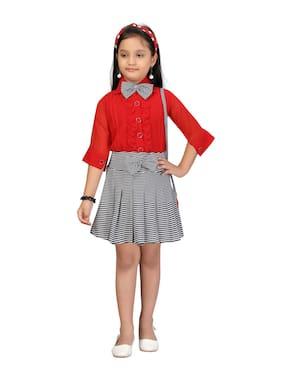 Aarika Girls Red;Black Color Pure Georgette Skirt Top Pack of 1 (Set of 3)