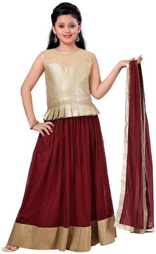 Aarika Girl's Satin Solid Sleeveless Lehenga choli - Red