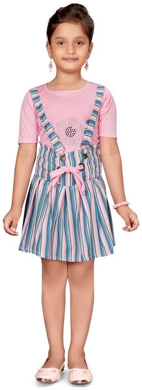 Aarika Girls Pink;Multi Color Cotton Blend Dungaree Pack of 1 (Set of 2)