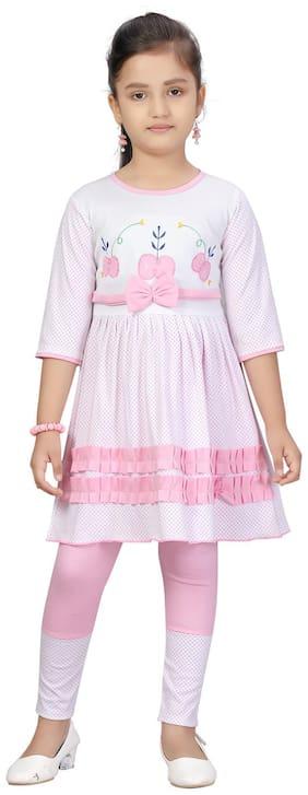 Aarika Girl Cotton Top & Bottom Set - Pink