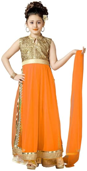 Aarika Girl's Net Embellished Sleeveless Kurti & salwar set - Orange