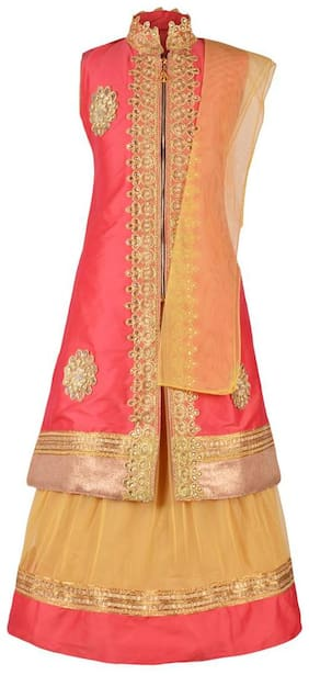 Aarika Girl's Net Embellished Sleeveless Lehenga choli - Beige