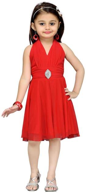 Aarika Baby girl Net Solid Princess frock - Red