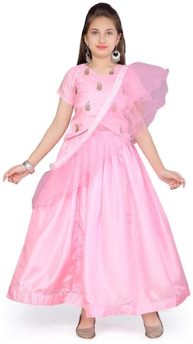 Aarika Girl's Silk Self design Short sleeves Lehenga choli - Pink