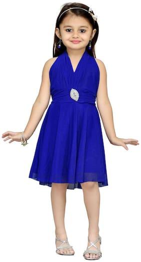 Aarika Blue Net Sleeveless Knee Length Princess Frock ( Pack of 1 )