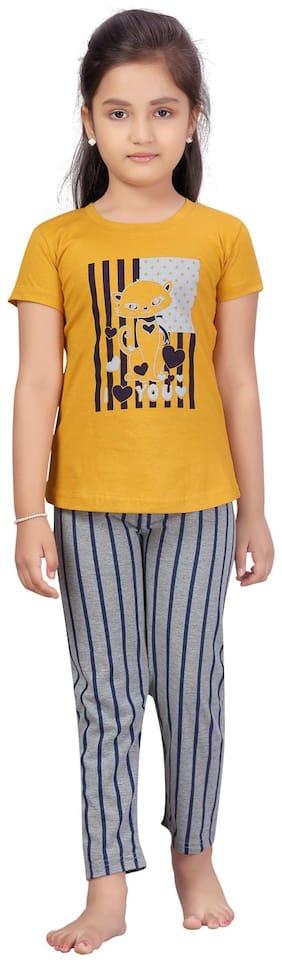 Aarika Girl Cotton Top & Bottom Set - Yellow