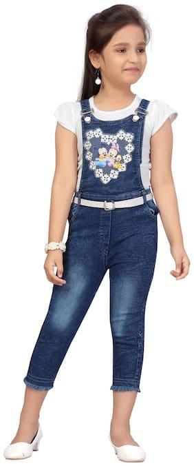 Aarika Girls White;Blue Color Denim Jumpsuit Pack of 1 (Set of 1)