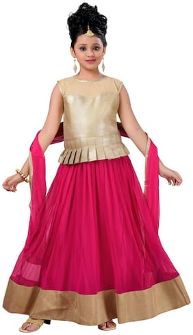 Aarika Girl's Satin Solid Sleeveless Lehenga choli - Pink