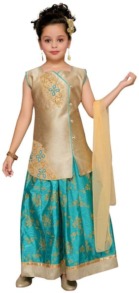 Aarika Girl's Silk Embellished Sleeveless Lehenga choli - Green