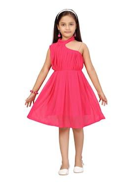 Aarika Baby girl Net Solid Princess frock - Pink