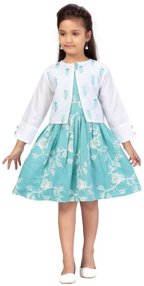 White;Turquoise A-Line Dress