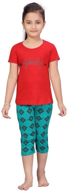 Aarika Girl Cotton Top & Bottom Set - Red