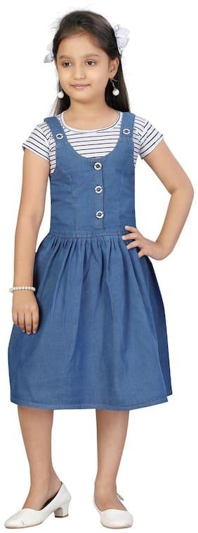 Aarika Girls White;Blue Color Cotton;Denim Dungaree Pack of 1 (Set of 2)