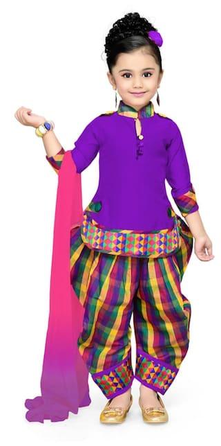 Aarika Girl's Self Design Cotton Silk Ethnic Kurti, Patiala and Dupatta Set (4 - 5 Years)