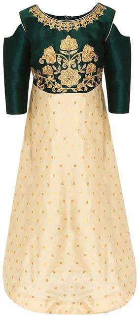 Aarika Girl's Silk Self design 3/4th sleeves Gown - Green