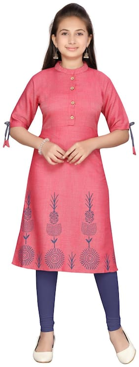 Aarika Girl's Cotton Solid Short sleeves Kurti & salwar set - Red