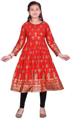 Aarika Girl's Cotton Floral 3/4th sleeves Kurti & salwar set - Red & Black