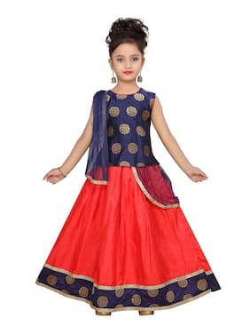 Aarika Girl's Silk Printed Sleeveless Lehenga choli - Blue & Red