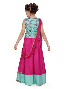 Aarika Girl's Silk Floral Sleeveless Lehenga choli - Green & Pink