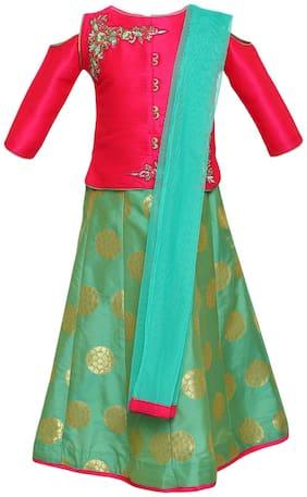 Aarika Girl's Silk Embellished 3/4th sleeves Lehenga choli - Green