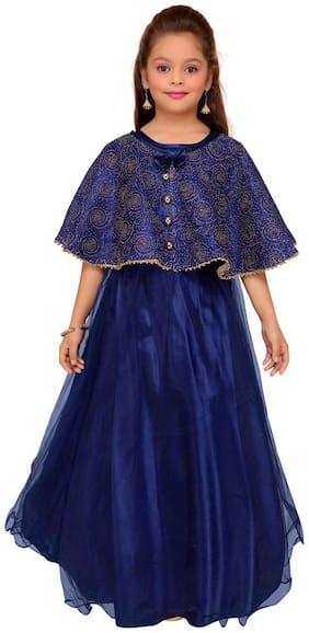 Aarika Girl's Net Solid Short sleeves Gown - Blue