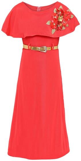 Aarika net a-line Dress(6-7 Years) (Pink)