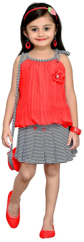 Aarika Georgette Printed Frock - Red