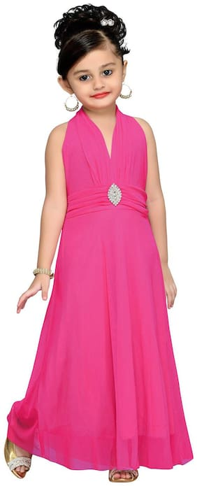 Aarika Girl's Net Solid Sleeveless Gown - Pink