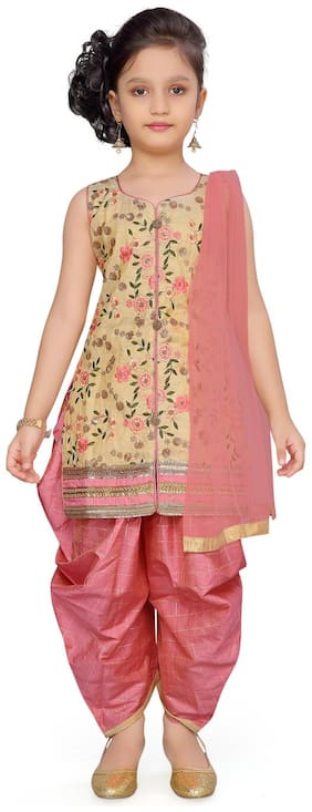 Aarika Baby girl Silk Self design Kurti & salwar set - Pink