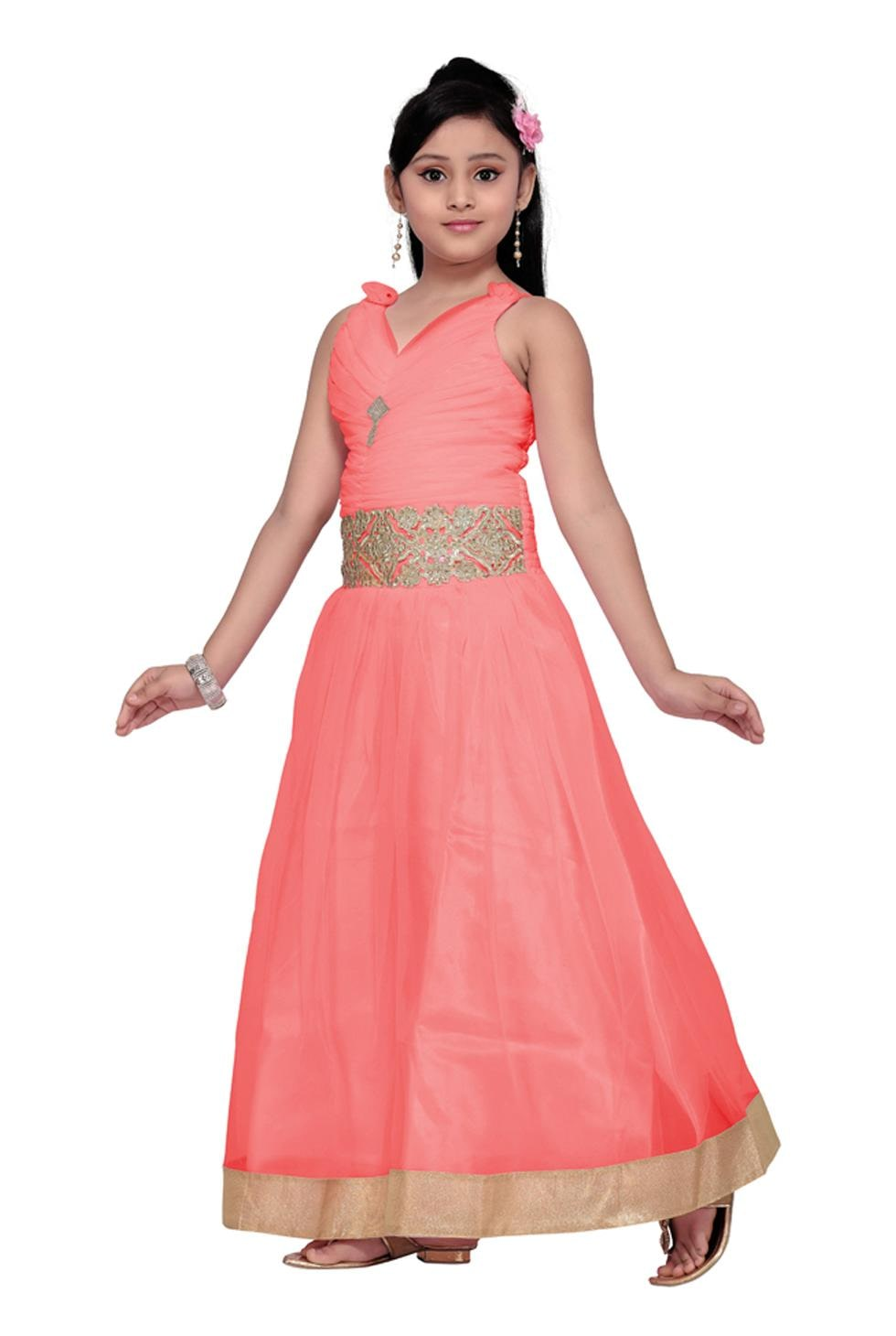 6577bf12f32 Buy Aarika Girl s Net Fabric Self Design Gown (8 - 9 Years) Online at Low  Prices in India - Paytmmall.com