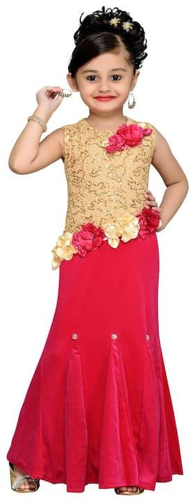 Aarika Girl Velvet Embellished Gown - Pink