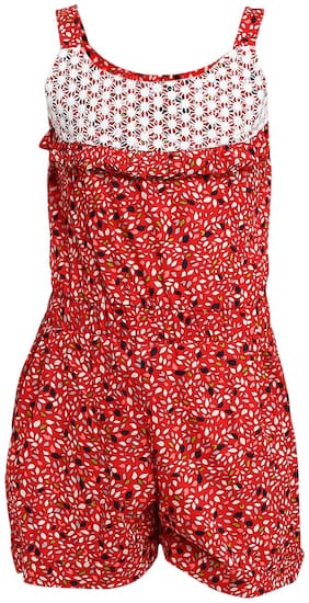 Aarika Cotton Self design Dungaree For Girl - Red