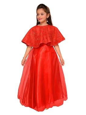 Aarika Girl Net Solid Gown - Red