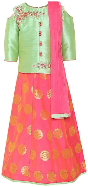 Aarika Girl's Silk Self design 3/4th sleeves Lehenga choli - Green