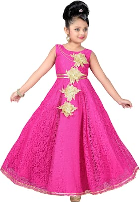 Aarika Girl's Net Self design Sleeveless Gown - Pink