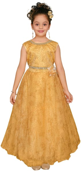 Aarika Girl's Net Solid Sleeveless Gown - Yellow