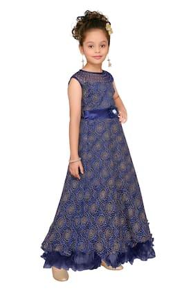 Aarika Girl Net Solid Gown - Blue