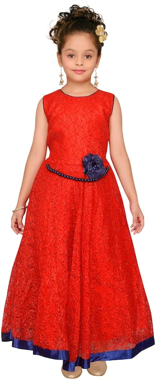 Aarika Girl's Net Solid Sleeveless Lehenga choli - Red