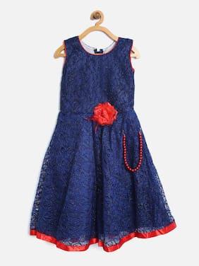 Aarika Girl's Net Solid Sleeveless Lehenga choli - Blue