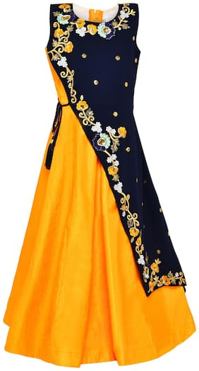 Aarika Silk Princess Frock Yellow & Blue Color