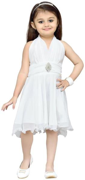 Aarika Baby girl Net Solid Princess frock - White