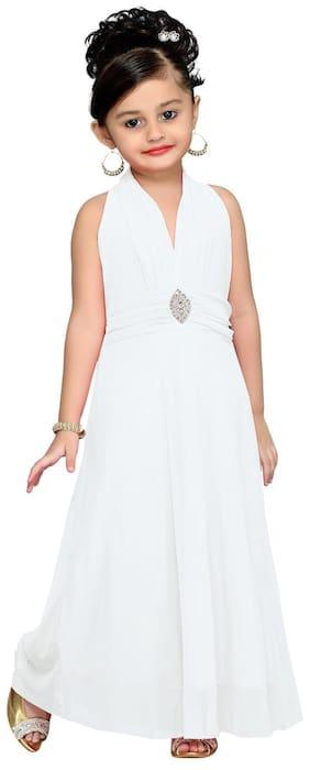 Aarika Girl Net Solid Gown - White