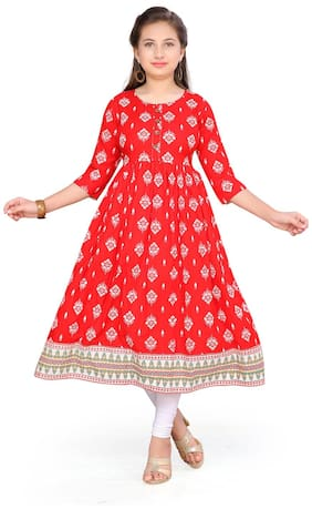 Aarika Girl's Cotton Printed Sleeveless Kurti & salwar set - White & Red