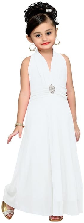 Aarika Girl's Net Solid Sleeveless Gown - White